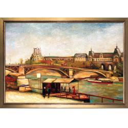 The Pont du Carrousel and the Louvre, 1886 by Vincent Van Gogh Framed Hand Painted Oil on Canvas