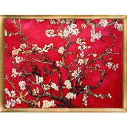 Branches of an Almond Tree in Blossom, Red by Vincent Van Gogh Framed Hand Painted Oil on Canvas