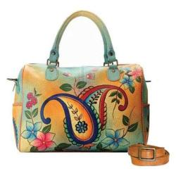 Women's ANNA by Anuschka Hand Painted Large Satchel 8067 Jaipur Paisley Spring