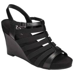 Women's A2 by Aerosoles Magic Plush Wedge Sandal Black Faux Leather
