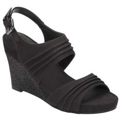 Women's A2 by Aerosoles May Plush Wedge Sandal Black Fabric