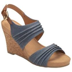 Women's A2 by Aerosoles May Plush Wedge Sandal Denim Combo Fabric