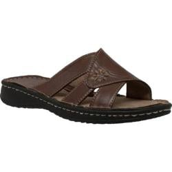 Women's Shaboom Band Slide Sandal Brown Leather