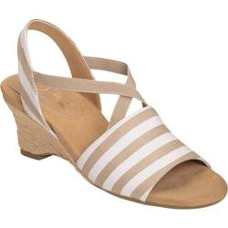 Women's A2 by Aerosoles Boyzenberry Sandal Tan Stripe Canvas