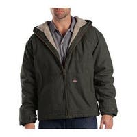Men's Dickies Sanded Duck Sherpa Lined Hooded Jacket Tall Black Olive
