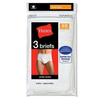 Men's Hanes White Briefs (3 Pairs) White