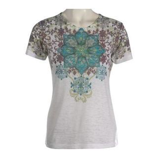 Women's Ojai Clothing Turquoise Alpine Burnout Crewneck T-Shirt