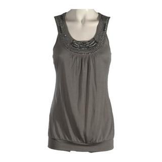Women's Ojai Clothing Hand Beaded Travel Top Dove Grey