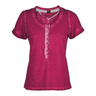 Women's Ojai Clothing Raw Edge Henley Cherry Jubilee