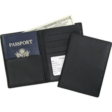 Royce Leather RFID Blocking Passport Currency Wallet 222-5 Black