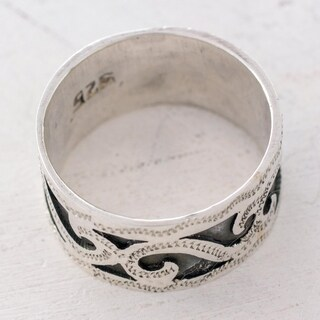 Handmade Sterling Silver 'Rolling Waves' Band Ring (Guatemala)