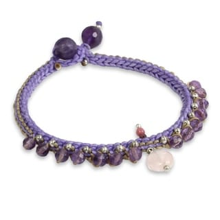 Handcrafted Amethyst 'Mae Sa Orchid' Beaded Bracelet (Thailand)