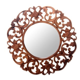 Handcrafted Suar Wood 'Balsamina Buds' Wall Mirror (Indonesia)