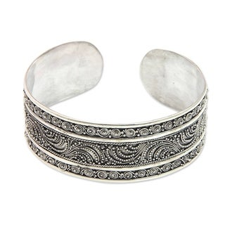 Handcrafted Sterling Silver 'Dancing Waves' Cuff Bracelet (Indonesia)