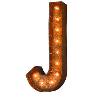 Indoor/ Outdoor Rusted Steel Alphabet Letter 'J' Iconic Marquee Light