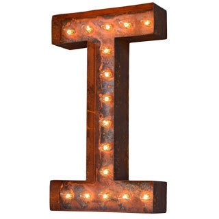 Indoor/ Outdoor Commercial Grade Rusted Steel Alphabet Letter 'I' Iconic Profession/Commercial MarqueeLight