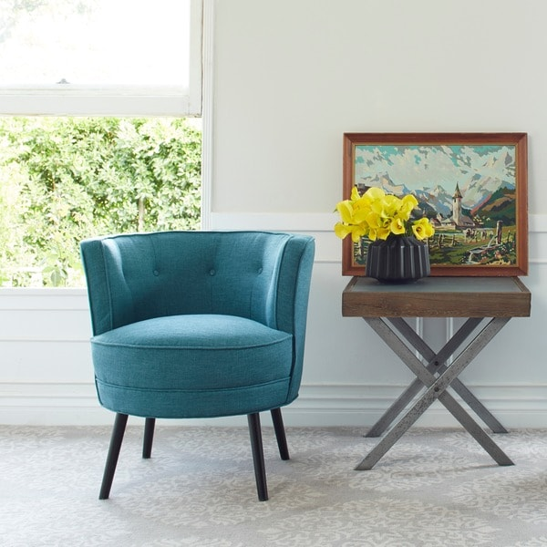 Handy living lily upholstered midnight paris sky blue barrel chair free shipping today Angelo home patio furniture