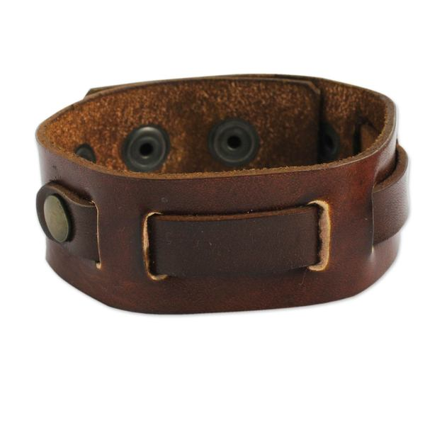 Handmade Men's 'Journey' Leather Wristband (Thailand). Opens flyout.