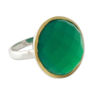 Modern 7.5 Carat Checkerboard Cut Green Onyx Gemstone with 18K Gold Plate Over 925 Sterling Silver Womens Statement Ring (India)