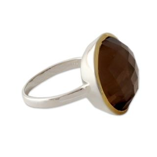 Handcrafted Gold Accented 'Dreamy Allure' Smoky Quartz Ring (India)