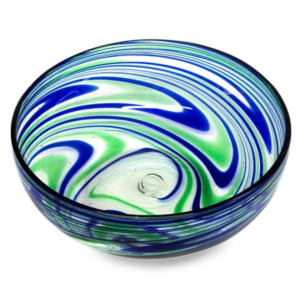 Handmade Blown Glass Elegant Energy Salad Bowl (Mexico)