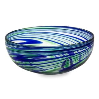 Handcrafted Blown Glass 'Elegant Energy' Salad Bowl (Mexico)