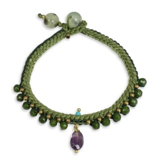 Handmade Quartz Amethyst 'Mae Sa Jungle' Beaded Bracelet (Thailand)