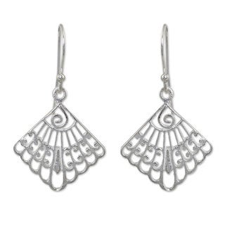 Handcrafted Sterling Silver 'Siam Fans' Dangle Earrings (Thailand)