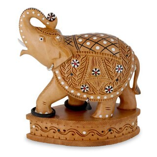 Handcrafted Kadam Wood 'Playful Elephant' Statuette (India)