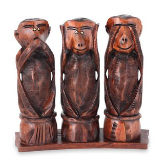 Set of 3 Kadam Wood 'Three Wise Monkeys' Statuette (India)