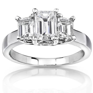 Annello 14k White Gold 2 3/4ct TGW Emerald-cut Moissanite 3-stone Engagement Ring