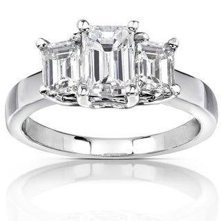 Annello by Kobelli 14K White Gold 2 7/8ct TGW Three Stone Emerald Cut Moissanite Engagement Ring (HI, VS)