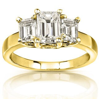 Annello by Kobelli 14K Yellow Gold 2 7/8ct TGW Three Stone Emerald Cut Moissanite Engagement Ring (HI, VS)