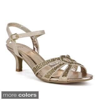 Celeste Women's 'Fionn-04' Shining Diamond Kitten Heel Slingback Sandals