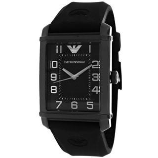 Armani Women's AR0499 Classic Rectangle Black Strap Watch