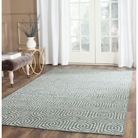 Safavieh Hand-Woven Straw Patch Blue/ Multi Wool/ Cotton Rug - 5' x 8'