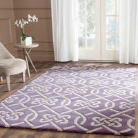 Safavieh Handmade Chatham Purple/ Ivory Wool Rug - 6' x 9'