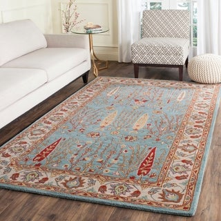 Safavieh Handmade Heritage Timeless Traditional Blue/ Ivory Wool Rug (6' x 9')