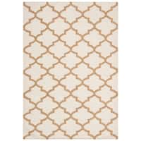 Safavieh Hand-woven Dhurries Ivory/ Gold Wool Rug - 5' x 8'