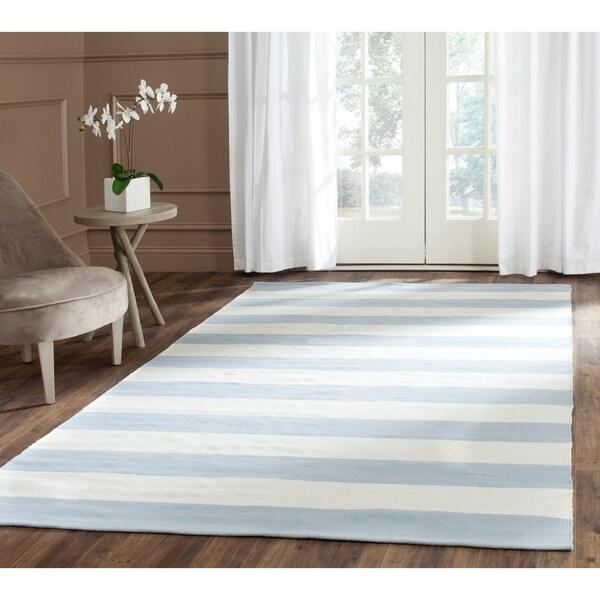 Safavieh Montauk Handmade Caspian Flatweave Sky Blue/ Ivory Stripe Cotton Rug - 5' x 8'