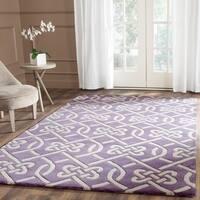 Safavieh Handmade Chatham Purple/ Ivory Wool Rug - 5' x 8'