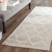 Safavieh Indoor/ Outdoor Amherst Light Grey/ Ivory Rug - 2'3 x 9'