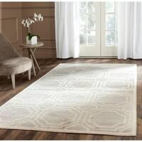 Safavieh Indoor/ Outdoor Amherst Light Grey/ Ivory Rug - 7' Square