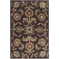 Safavieh Handmade Heritage Timeless Traditional Brown/ Gold Wool Rug - 2' x 3'