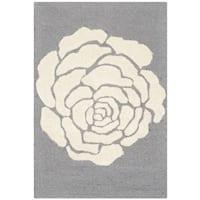Safavieh Handmade Cambridge Dark Grey/ Ivory Wool Rug - 2' x 3'