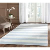 Safavieh Montauk Handmade Caspian Flatweave Sky Blue/ Ivory Stripe Cotton Rug - 4' x 6'