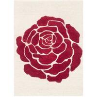 Safavieh Handmade Cambridge Ivory/ Red Wool Rug - 2' X 3'
