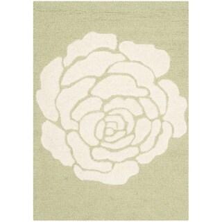 Safavieh Handmade Cambridge Lime/ Ivory Wool Rug (2' x 3')