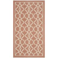 Safavieh Courtyard Geometric Poolside Terracotta/ Beige Indoor/ Outdoor Rug - 2' x 3'7""