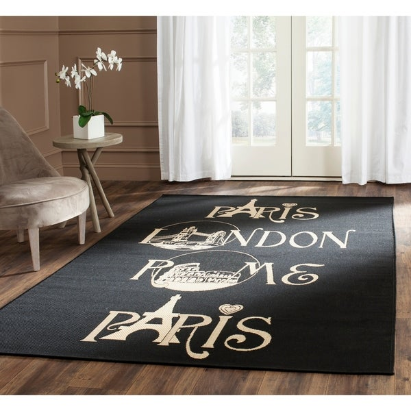 Safavieh Indoor/ Outdoor Courtyard Black/ Beige Rug - 8' x 11'2